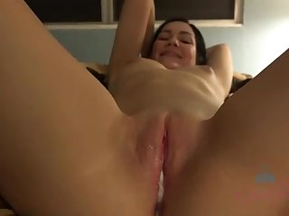 Promiscuous brown-haired with smallish udders, Karly Baker gave a footjob to a man she desired to pound