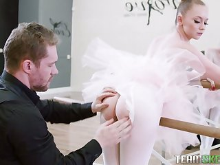 Nice ballerina Athena Rayne gives a blowjob in bride pose and takes a cock in pinkish hole