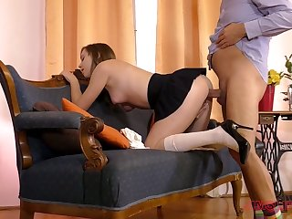 Naughty coed chick with perfect curves Fira Ventura is fucked in standing pose
