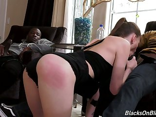 Skinny white chick Alex Blake tries to cope with two massive aggressive black dongs