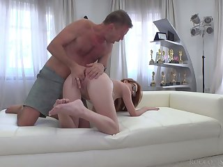 Nerdy redhead Candy Red gives rimjob and deepthroat BJ in 69 pose