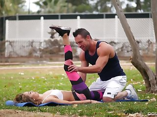Handsome fitness instructor gives a massage and fucks awesome hottie Kara Faux