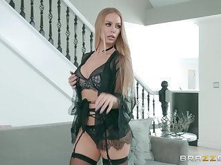 Blonde in lingerie Nicole Aniston spreads her legs for cock and cum