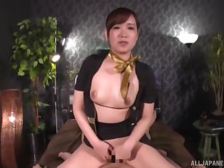 Clothed cock riding session with Japanese secretary Natsuki Minami