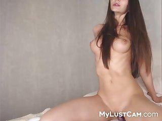 Beauty Teenie Camslut Playing With Fake Male Stick   Gash