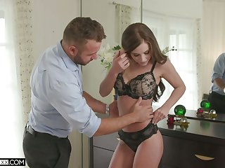 Hot blooded wife Whitney Westgate rides her husband and takes cumshots on tits