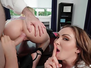 Two naughty secretaries please their sex-hungry boss