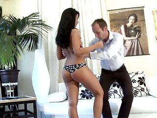 Teen with bad behavior Victoria gets spanked and punished by strict stepdad