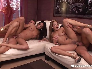 Foursome special for two naked step sisters
