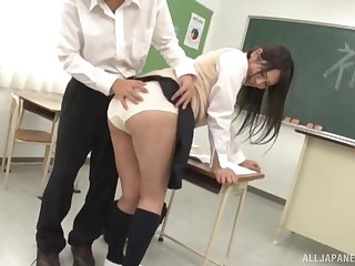 Japanese college babe gets groped and fucked by a horny guy after class