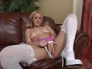 Blonde in white nylons sucking dick and getting her cunt fucked