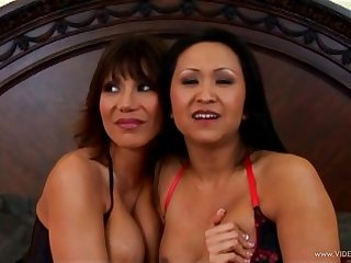 Foxy Asian milfs in fishnet stockings take on a big cock