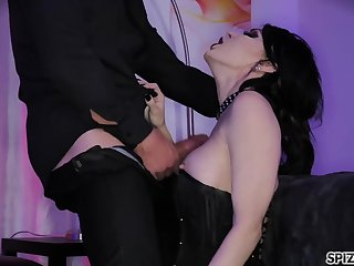 Submissive bitch in corset Jessica Jaymes licks the sperm off the black plate