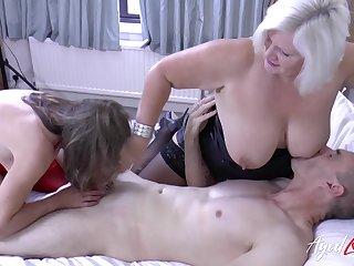 English mature whore Lacey Starr is ready for wild MFF threesome