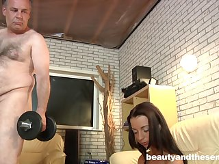 Quickie fucking after working out - Old vs young - sexy Leyla