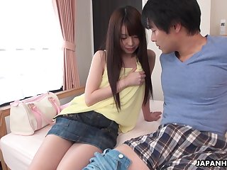 Not so shy Japanese girl wants to see her lover's cock and she's hungry AF