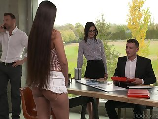 Warmed up with some anal slutty cowgirl Mina K takes double penetration