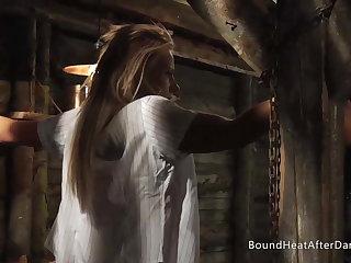 Tied Up Blonde Lesbian Schoolgirl In Madame's Dungeon
