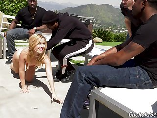 Slut Lilly Lit drops on her knees for interracial gangbang