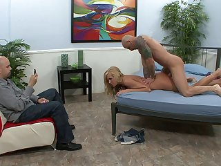 Handsome blonde wife Darcy Taylor fucked on the bed by a stranger