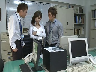 Miyuki Yokayama undressed and fucked by two dudes in the office