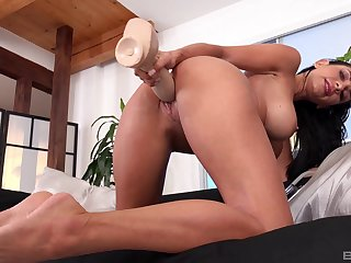 Nude babe works huge toy cock in both her soaked holes