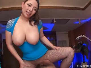 POV video of busty cougar Oda Mako sucking and riding a cock