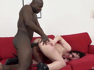 Black power for a tight amateur mature in her first anal cam show
