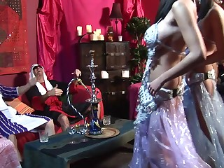 Stunning stomach dancers has 4some with twosome rich fellows at chum around with annoy club
