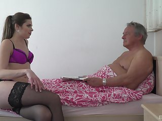 Blonde babe in fishnets Sarah Smith swallows and older mans cum