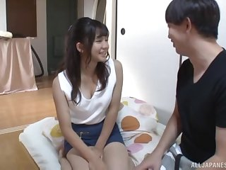 Teen Japanese babe Kumakura Shouko rides a big fat dick at home