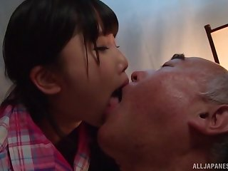 Japanese teen Miyazaki Aya seduces an older guy and rides him hard