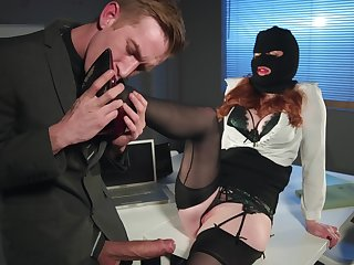 Redhead office slut Zara Durose rides cock like a nympho in heat