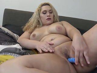 Busty curvy tgirl toying her gash