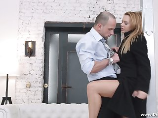 Yummy Russian babe Emily Thorne gives a blowjob and gets her anus gaped for cash