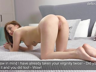 Teen virgin chats with the camera guy and masturbates
