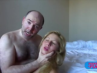 Hairy old man fucks blonde haired girl in both holes