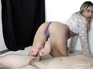 Seductive mistress fulfills all ass and foot fetish